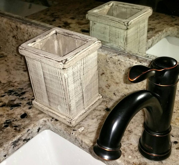 Items Similar To Rustic Toothbrush Cotton Ball Holder Country Mini Trash Bin Farmhouse