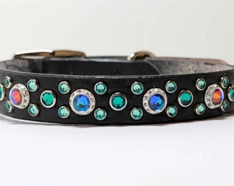 "3/4"" or 1"" wide Rhinestone Dog Collar with Swarovski Crystals, Blue Crystal Dog Collar,"