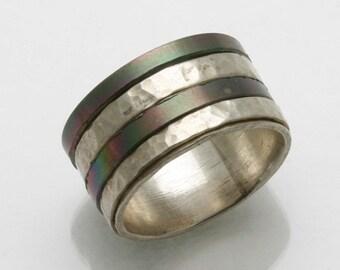 Vintage 925 Sterling Silver hammered stripe band ring Handmade Israel Estate