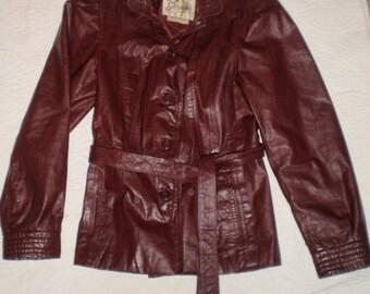 Berman's Burgundy Belted Women's Leather Jacket Size Medium