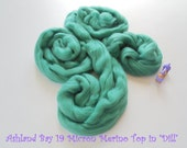 Dyed Merino Top from Ashland Bay - 2 oz of Extra-Soft 19.5 Micron Combed Top for Spinning or Felting in Dill - Bluish-Green Merino Top