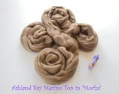 Dyed Merino Top from Ashland Bay - 2 oz of 21.5 Micron Combed Top for Spinning or Felting in Mocha - Light Brown Merino Top/Merino Roving