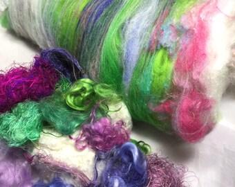3.5 oz Merino Wool Art Batt Extra Mohair Locks Sari Silk Threads Silk Noil Needle Felt Doll Hair Reroot Angel Hair Fiber Art Supply