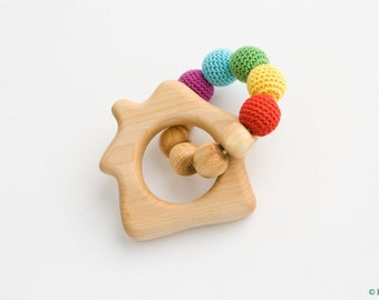 Rainbow House Wooden Teething Ring, Rattle, Natural Baby Toy - New Baby Gift, Shower Gift, Rainbow - FrejaToys