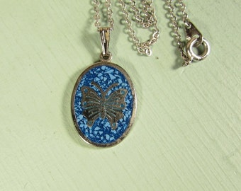 Turquoise Butterfly Necklace - Vintage Silver Tone Mosaic Chip Small Oval Pendant