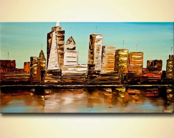 """ORIGINAL NYC Abstract City Painting Modern Acrylic Palette Knife NY city Downtown Painting by Osnat 20.5"""" x 39"""" Large"""