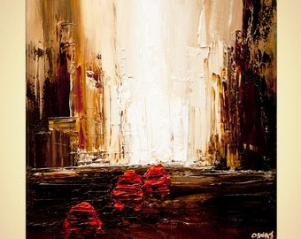 """modern cab taxi painting palette knife city abstract red taxi painting by Osnat 24"""" x 24"""""""