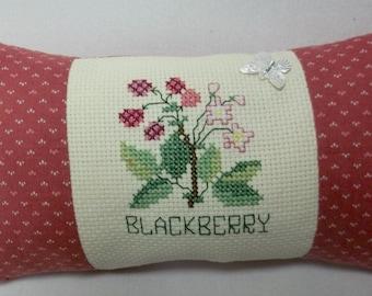 Blackberry Cross Stitch Mini Pillow Shelf Pillow