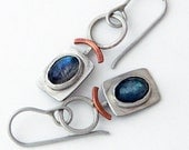 Mixed metal jewelry- dangle metal earrings with silver, copper and chalcedony and mixed metal earrings