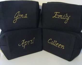 Set of 4 Personalized Bridal Party Cosmetic Bags - Bridesmaid Makeup Bags - Waffle Weave Spa Bags - Great Gift