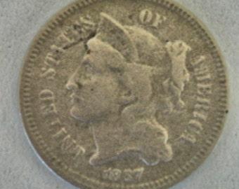 Vintage 1867 Three Cents Nickel 3 Cents Nickel collectors Coins USA Coins Lot no. 296