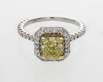 3.00 Carat GIA Certified Fancy Yellow Cushion Cut Diamond Engagement Ring 18k