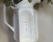 Vintage Ironstone Pitcher Catholic Relic Relief Pitcher