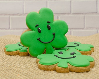 Decorated Cookies - Smiley Shamrocks - 1 DOZEN