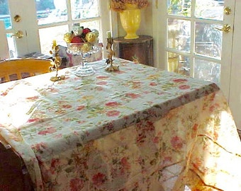 Beautiful Vintage Sheer Floral Tablecloth by April Cornell in Lovely Florals