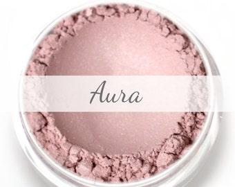 "Stardust Highlighting Powder Sample - ""Aura"" (light frosty pink highlight, Net Wt .5g pot) - Vegan"
