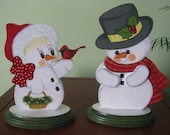 Snowmen, winter, shelf sitters, a couple, home decor, decoration, handpainted