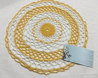 Vintage 11 inch White and Yellow hand crochet doily for sewing, housewares, handbags, pillows, home decor MarlenesAttic