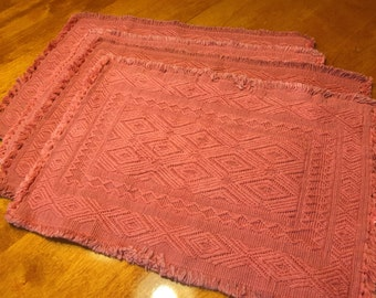 Set of 4 Vintage Dark Pink Woven placemats for home decor, housewares, dining, shabby chic by MarlenesAttic