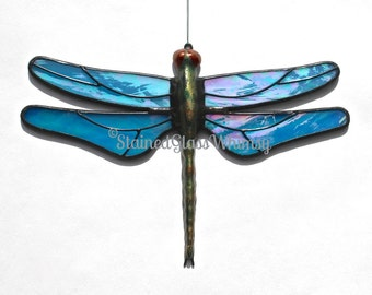 Stained Glass DRAGONFLY Suncatcher - Wispy Iridescent Turquoise Wings - USA Handmade Original, Turquoise Dragonfly, Stained Glass Dragonfly