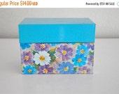 ON SALE Vintage Floral Blue Metal Recipe Box Ohio Art Company