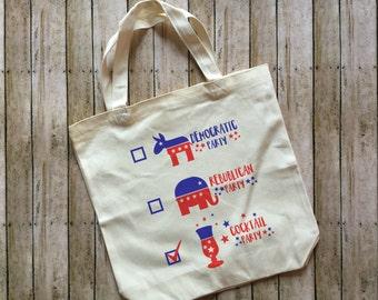 Political tote Bag - political tote bag - democratic republican- no party - no political party - presedential tote 2016