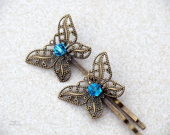 Butterfly Hair pins - Set of 2/Turquoise crystals braids decoration Gift for daughter/girls Filigree butterflies Vintage retro jewelry