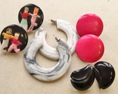 fun funky black white gray hot pink over sized 80s vintage earrings//dolls hoops round wooden black swoosh--mixed lot of 4 pairs