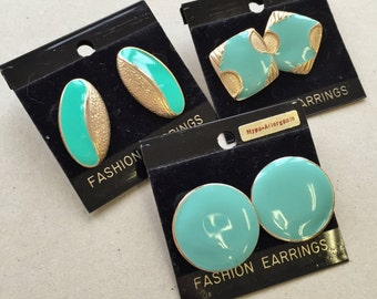 80s 90s vintage gold tone metal over sized pierced enameled earrings//aqua blue and sea foam green//various shapes--lot of 3 pairs
