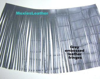 wide and grey leather fringes - long and wide fringes - make your own tassels - fringes for tassels