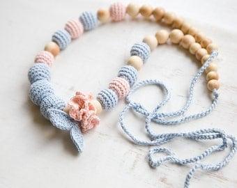 nursing necklace - teething necklace - juniper wood - baby wrap sling