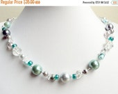 50% OFF Pearl necklace - mint necklace - double strand - beaded rock quartz necklace - teal necklace - gray pearl necklace - bridal necklace
