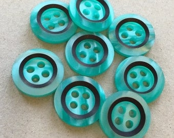 emerald jade green pearlized eco friendly buttons with black stripe inside concave centers--matching lot of 8