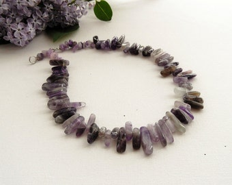 Natural Jasper and Amethyst  Necklace - Purple Grey Amethyst Nugget Necklace - Beaded Necklace -Choker