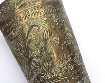 Vintage carved Brass vase