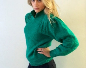 Fluffy Emerald Green Vintage Sweater