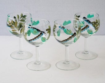 "Painted glassware ""dragonflies"" set of 4"