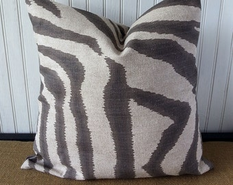 ON SALE Pillow - Brown Pillow - Zebra Print Pillow - 18 x 18 Pillow Cover - Brown Pillow - Brown Throw Pillow - Accent Pillow - Throw Pillow