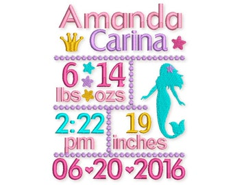 Mermaid Birth Announcement Template Embroidery Designs Set - Fill stitch embroidery design for 5x7 and 6x10 hoop BA019