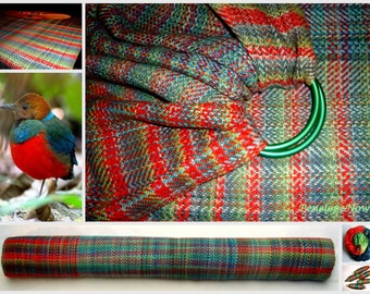 "Handwoven Ring Sling, Hand Dyed Cotton / Bourette Silk,( 28 "" X 94 "" / 72 X 238 cm)"