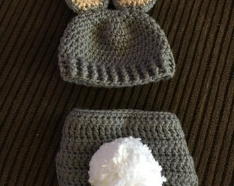 Baby Bunny photo prop hat and diaper cover