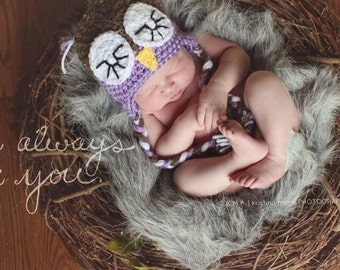 Owl PHOTOGRAPHY PROP hat brown and lavender