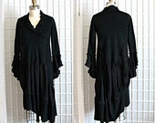Upcycled Tunic Top Black Deconstructed Look Lagenlook Recycled Clothing Size Small Medium