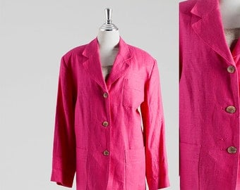 Shocking Pink Color Blazer, Linen Blazer, Tailored Jacket, 1980 Vintage Blazer, Women's Blazer, This style color byJacqueline Kennedy, Retro