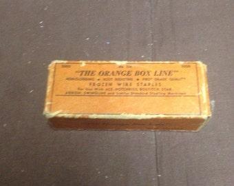 Vintage orange box line/ vintage staples/ vintage nails/ vintage decor