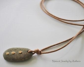 Natural jewelry - river stone- unique - organic - yoga accessory - for men or women