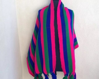 """Vintage cotton Mexican shawl or table runner stripe tassles 76"""""""