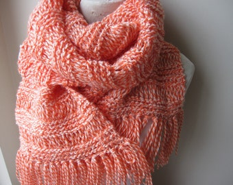 Woman fashion-women's knitted scarves-orange white knit long scarf, Knit long scarf, fringe scarf,winter fashion accessories-gifts for her