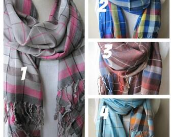 Hijab-Teal blue orange plaid-soft-silky viscose fabric scarf-woman fashion scarves-Men's SCARVES,Turkey scarves-woman fashion-gifts for her