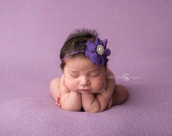 Baby Headband, Newborn Headband, Infant headband- Purple Chiffon Lotus Flower Headband with Rhinestone Embellishment Photography Prop